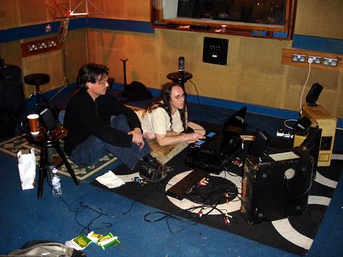 Sound mixing on floor of Paul's studio